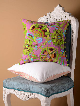 Pink Stylized Floral Cushion Cover  16in x 16in
