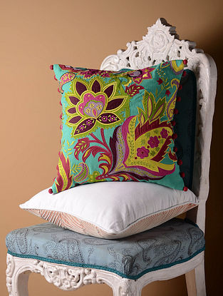 Blue Stylized Floral Cushion Cover  16in x 16in