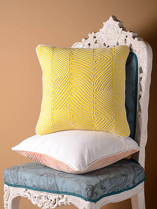 Light Yellow Contour Cushion Cover  16in x 16in