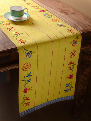 Yellow Shabby Chic Table Runner  61in x 14in