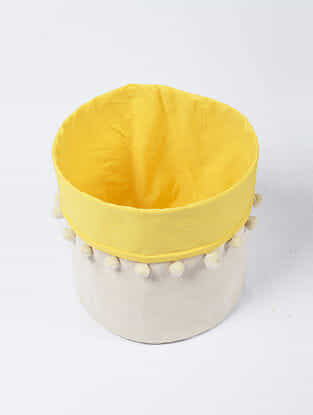 Yellow-White Canvas Storage Basket with Pom-poms