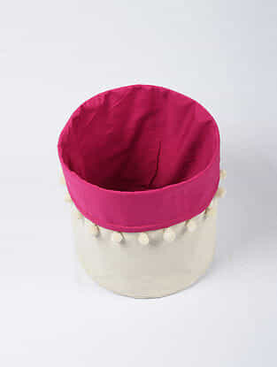 Pink-White Canvas Storage Basket with Pom-poms