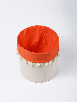 Orange-White Canvas Storage Basket with Pom-poms