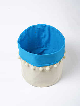 Blue-White Canvas Storage Basket with Pom-poms