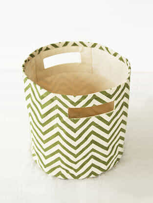 Green-White Chevron Print Canvas Storage Basket