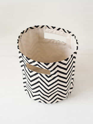 Black-White Chevron Print Canvas Storage Basket