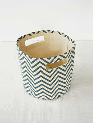 Blue-White Chevron Print Canvas Storage Basket