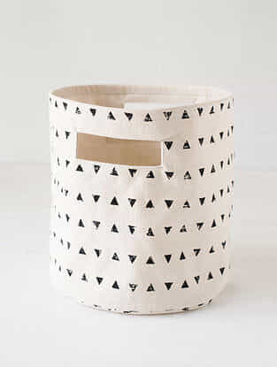 Black-White Printed Canvas Storage Basket