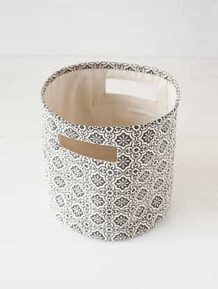 Pink-White Printed Canvas Storage Basket