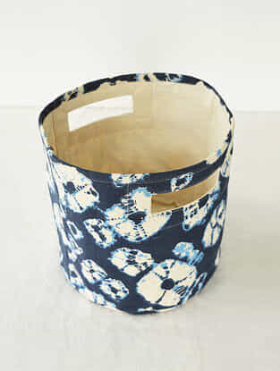 Blue-White Shibori Print Canvas Storage Basket