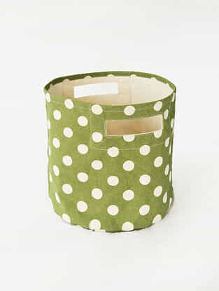 Green-White Shibori Print Canvas Storage Basket