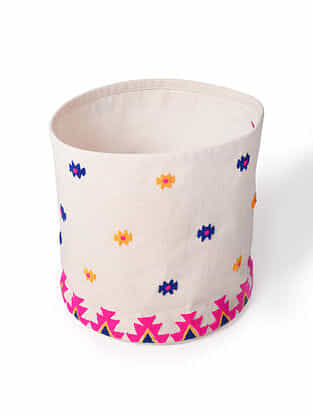 Pink-White Embroidered Canvas Storage Basket