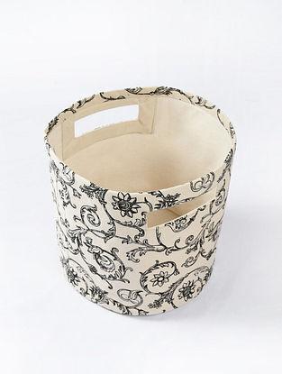 Black-White Swirl Printed Canvas Storage Basket