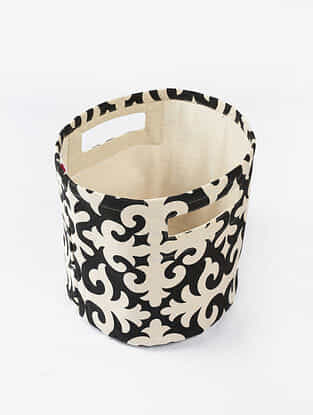 Black-White Morocco Print Canvas Storage Basket