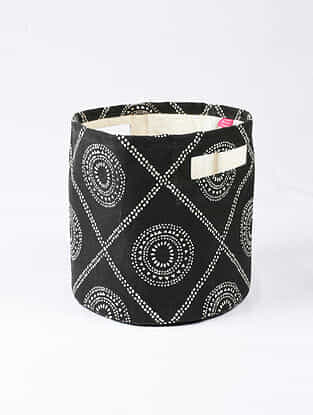 Black-White Hmong Print Canvas Storage Basket