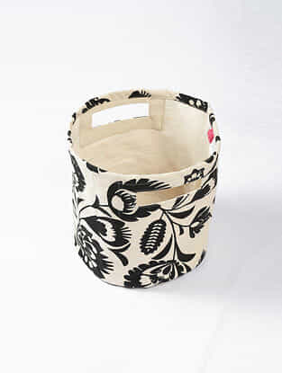 Black-White Floral Print Canvas Storage Basket