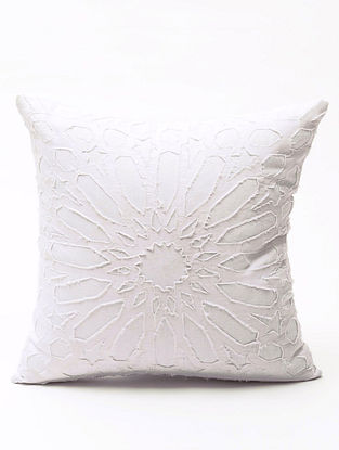 White Applique Cotton Cushion Cover (16in x 16in )