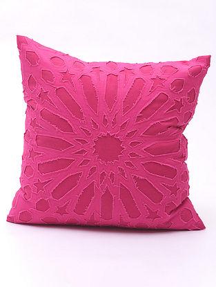 Fuchsia Applique Cotton Cushion Cover (16in x 16in )