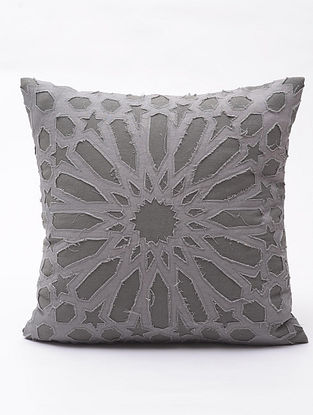 Grey Applique Cotton Cushion Cover (16in x 16in )