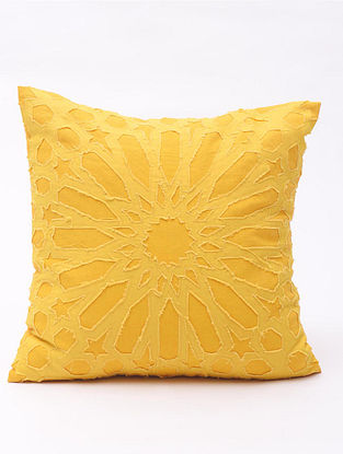 Yellow Applique Cotton Cushion Cover (16in x 16in )