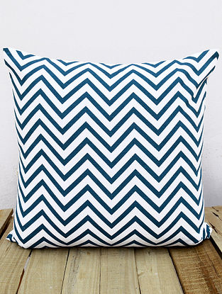 White-Indigo Printed Cotton Cushion Cover (16in x 16in )