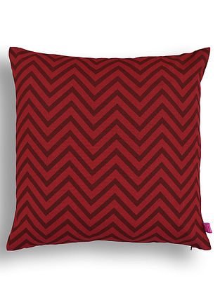 Red Printed Cotton Cushion Cover (16in x 16in )
