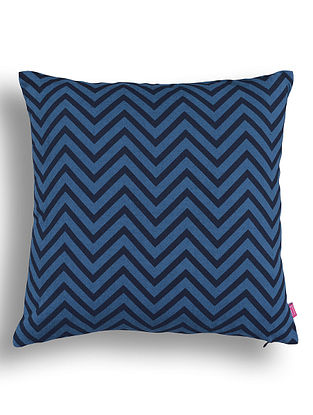 Blue Printed Cotton Cushion Cover (16in x 16in )