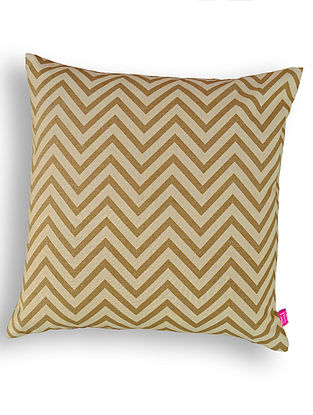 Beige Printed Cotton Cushion Cover (16in x 16in )