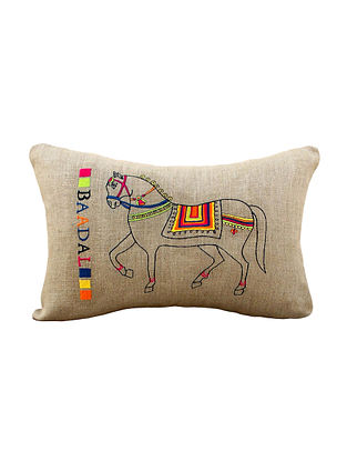 Multicolored Embroidered Linen Cushion Cover (21in x 14in )