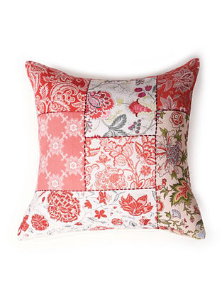 Multicolored Embroidered and Printed Cotton Satin Cushion Cover (16in x 16in)