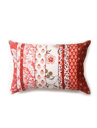 Multicolored Embroidered and Printed Cotton Satin Cushion Cover (21in x 14in)