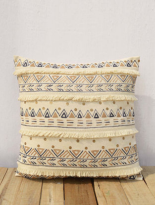 Multicolored Embroidered Cotton Cushion Cover (16in x 16in)