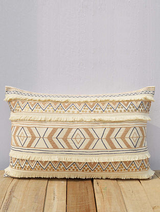 Multicolored Embroidered Cotton Cushion Cover (21in x 14in)