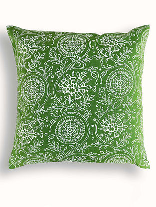 Green-White Printed Cotton Cushion Cover (16in x 16in )