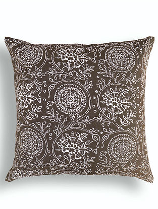 Brown-White Printed Cotton Cushion Cover (16in x 16in )