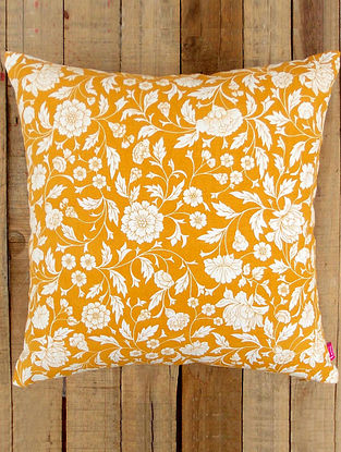 Yellow-White Printed Cotton Cushion Cover (16in x 16in )