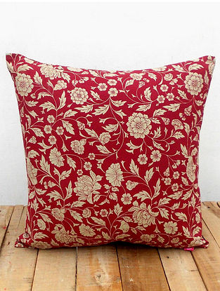 Pink-White Printed Cotton Cushion Cover (16in x 16in )