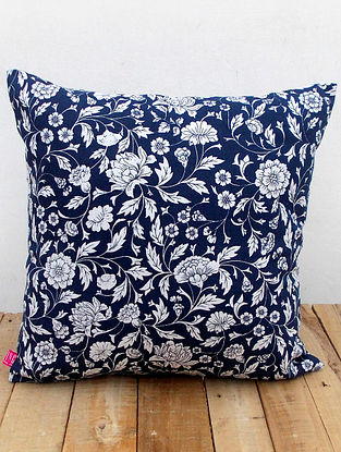 Blue-White Printed Cotton Cushion Cover (16in x 16in )