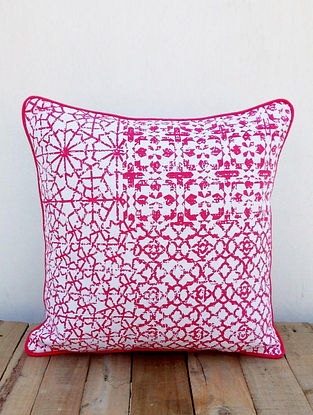 White-Pink Printed Cotton Cushion Cover (16in x 16in)