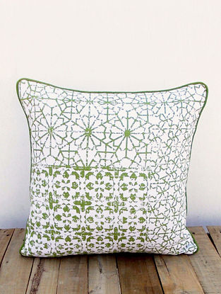 White-Green Printed Cotton Cushion Cover (16in x 16in)