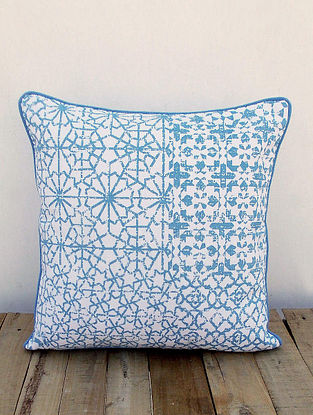 White-Blue Printed Cotton Cushion Cover (16in x 16in)