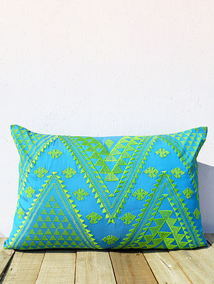 Multicolored Embroidered Poly Taffeta Cushion Cover (21in x 14in )