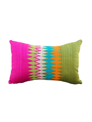 Multicolored Embroidered Silk Dupion Cushion Cover (21in x 14in )