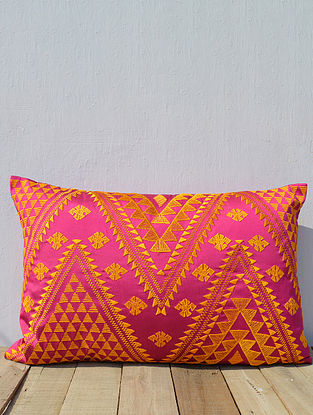 Orange-Pink Embroidered Poly Taffeta Cushion Cover (21in x 14in )