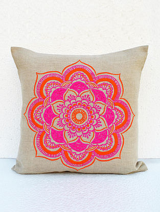 Pink-Orange Embroidered Linen Cushion Cover (16in x 16in)