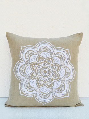 White Embroidered Linen Cushion Cover (16in x 16in)