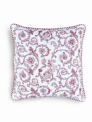 Red-White Printed Cotton Cushion Cover (16in x 16in)