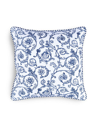 Blue-White Printed Cotton Cushion Cover (16in x 16in)