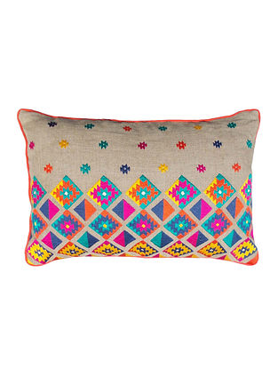 Multicolored Embroidered Linen Cushion Cover (14in x 21in)