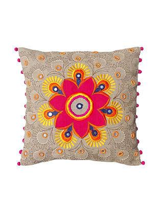 Multicolored Embroidered Linen Cushion Cover (16in x 16in)